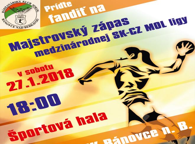 Hádzaná + prenos: HK Sokol Bánovce - HK Zlín, 27.1.2018